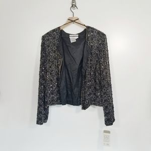 Vintage Papell Boutique Beaded Silk Jacket Cardi